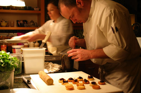 On-site chefs preparing desserts