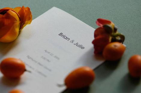 Menu card for a wedding