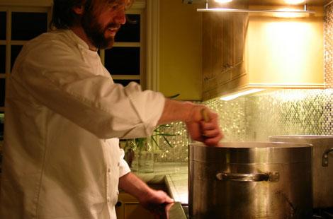 on-site chef stirring pot