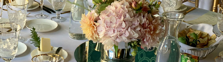 floral arrangement at table setting